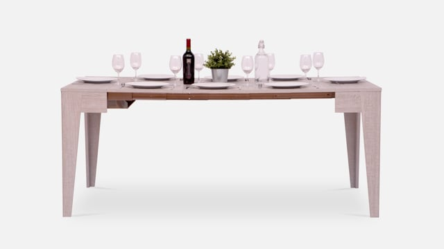 Dining table with place settings for 8 people