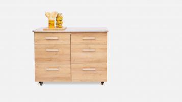 Wooden kitchen island on wheels with stainless steel top