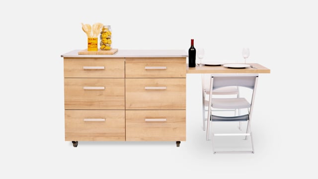 Kitchen island with side table pulled out for two people