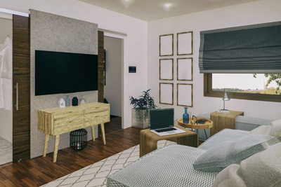 Small living space with tv